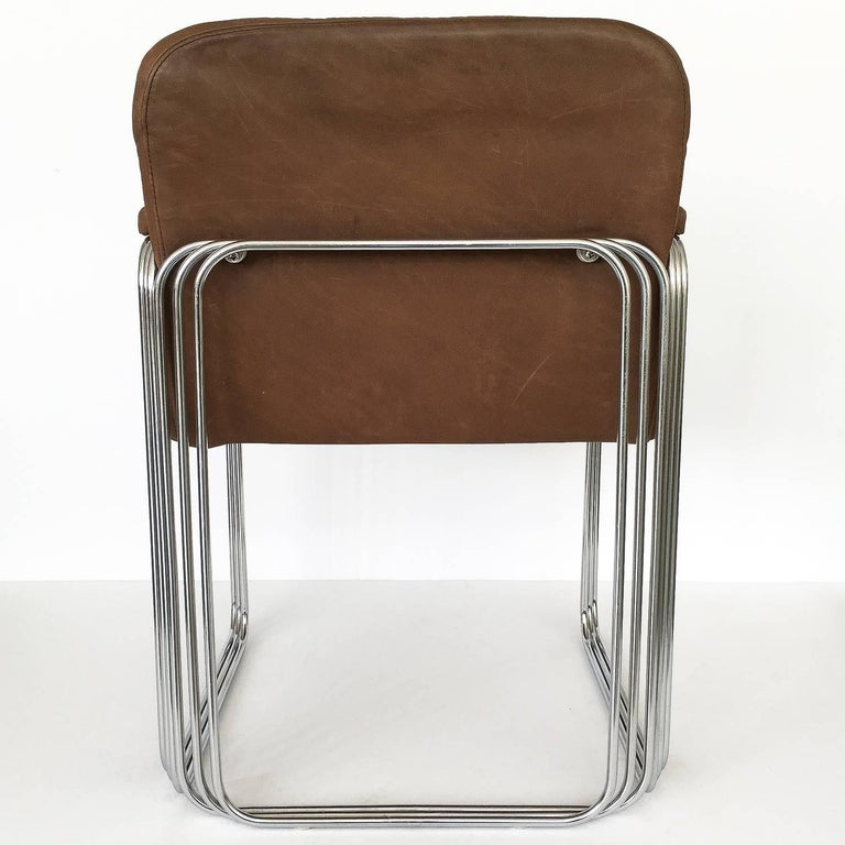 Set of Six Chrome and Leather Dining Chairs Attributed to Pace Collection For Sale 2