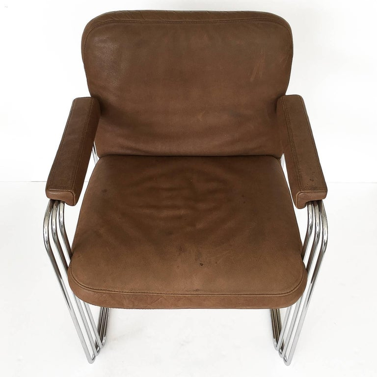 Set of Six Chrome and Leather Dining Chairs Attributed to Pace Collection For Sale 3