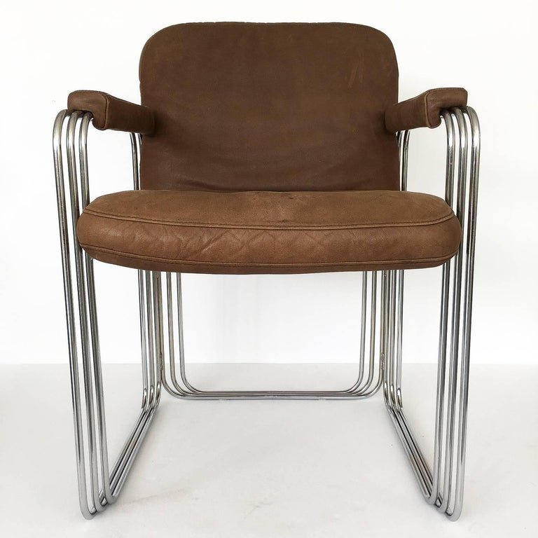 Set of Six Chrome and Leather Dining Chairs Attributed to Pace Collection For Sale 4