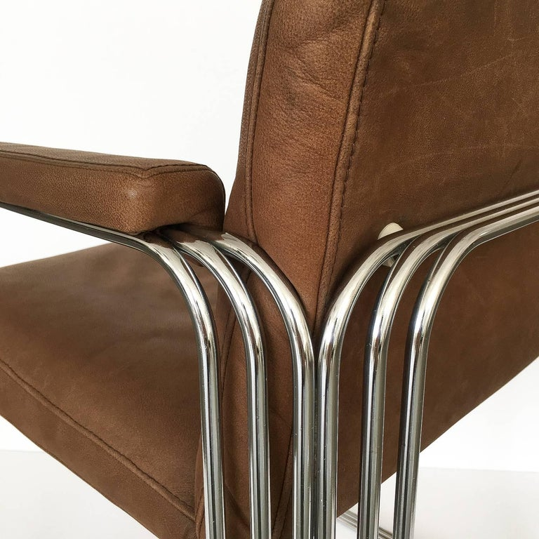 Set of Six Chrome and Leather Dining Chairs Attributed to Pace Collection For Sale 5
