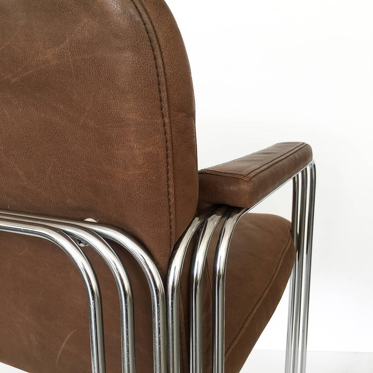 Set of Six Chrome and Leather Dining Chairs Attributed to Pace Collection For Sale 6