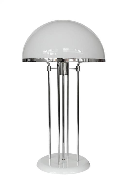 modernist chrome and acrylic dome table lamp at 1stdibs. Black Bedroom Furniture Sets. Home Design Ideas