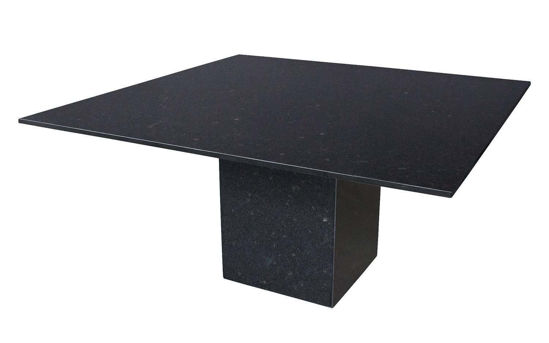 Minimalist Italian Black Granite Pedestal Dining Table At