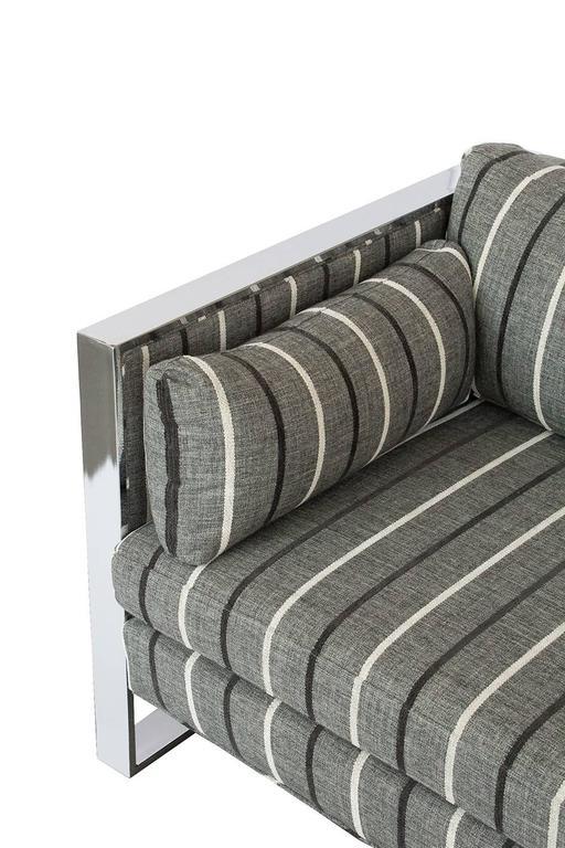 Milo Baughman Chrome And Cane Three Seat Sofa At 1stdibs