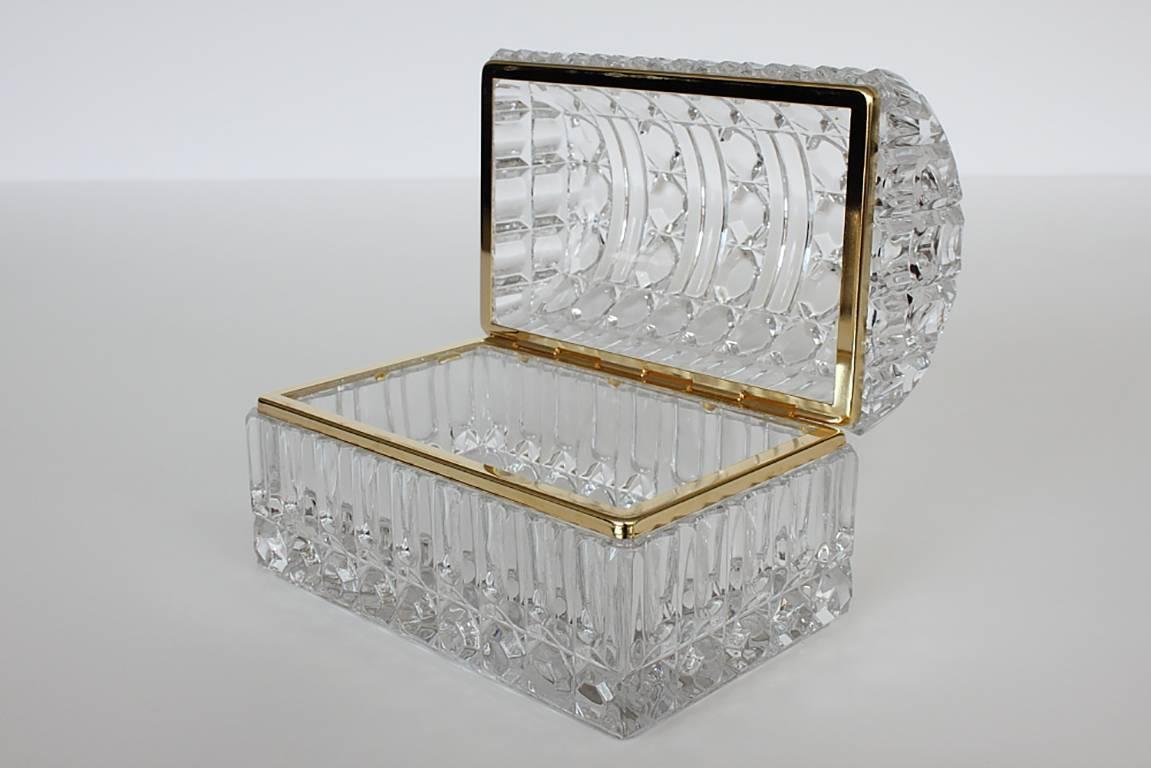 Cut Glass And Brass Jewelry Box At 1stdibs