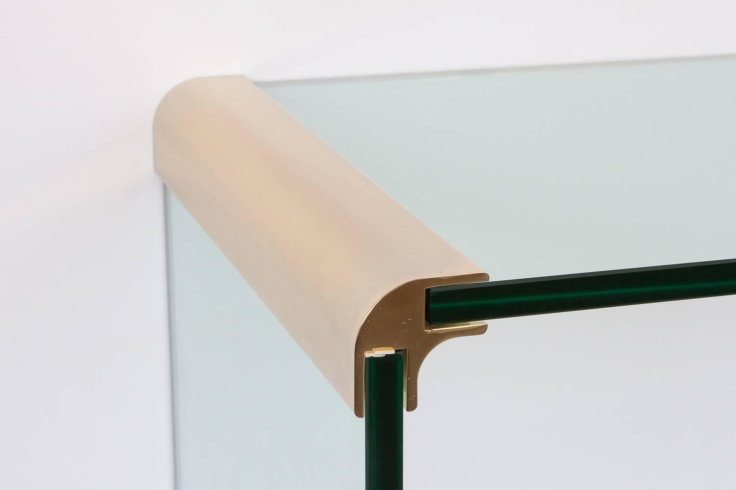 Pace brass glass waterfall console table at 1stdibs