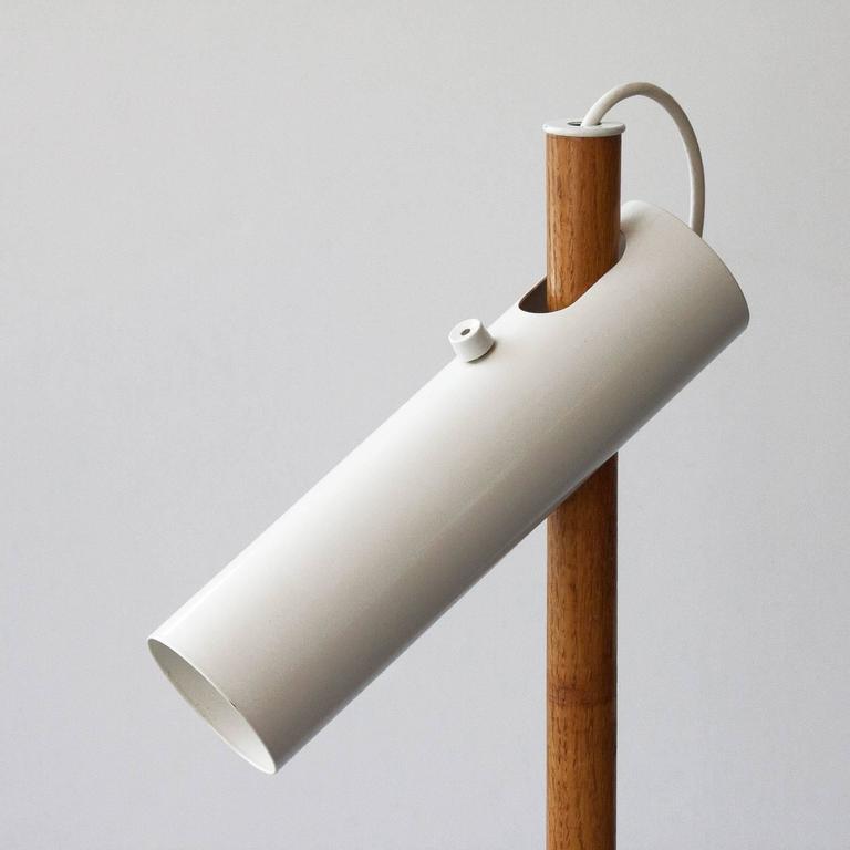 Modernist White Enamel And Oak Floor Lamp At 1stdibs
