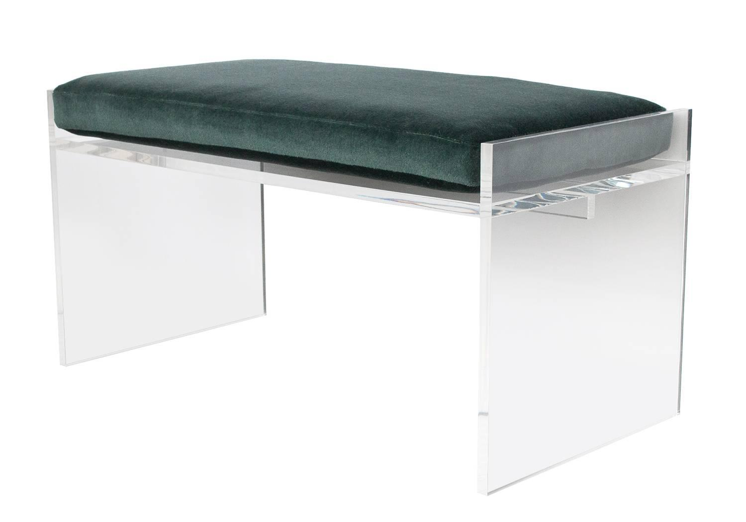 Modern Lucite Bench With Mohair Cushion At 1stdibs