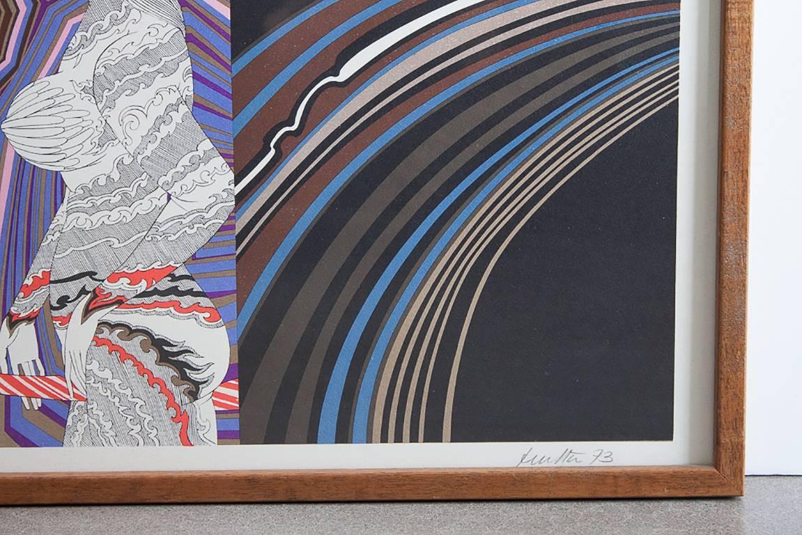 Wolfgang Hutter Abstract Op Art Framed Lithograph at 1stdibs