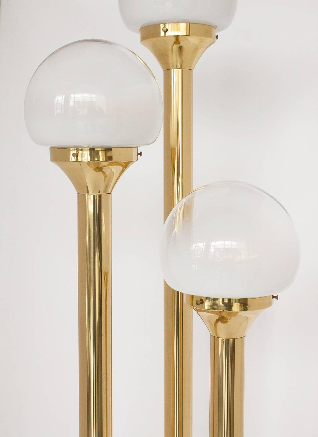 Italian Brass Three Globe Floor Lamp At 1stdibs