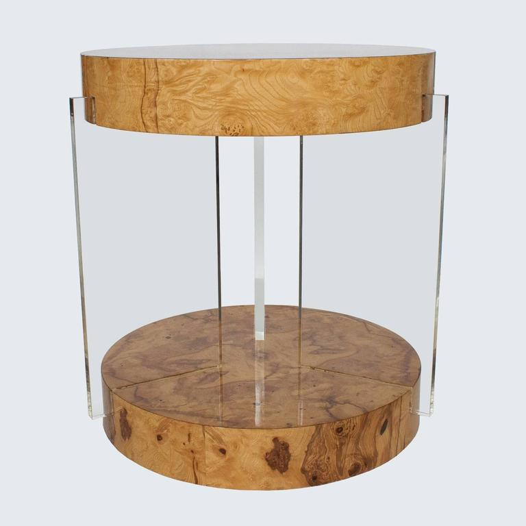 Rare Burl Lucite End Table Attributed To Vladimir Kagan 2