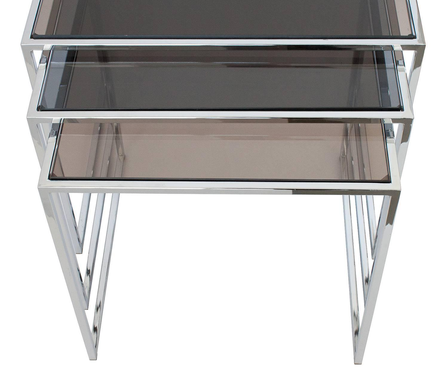 Marvelous photograph of Set of Milo Baughman Chrome and Smoked Glass Nesting Tables at 1stdibs with #5C696F color and 1500x1267 pixels