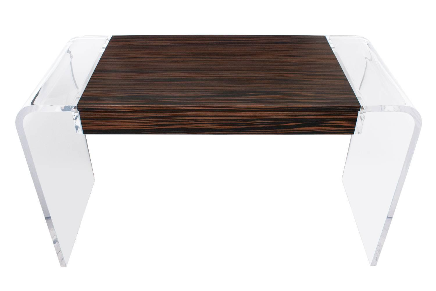Macassar ebony lucite waterfall writing desk console for Perspex desk