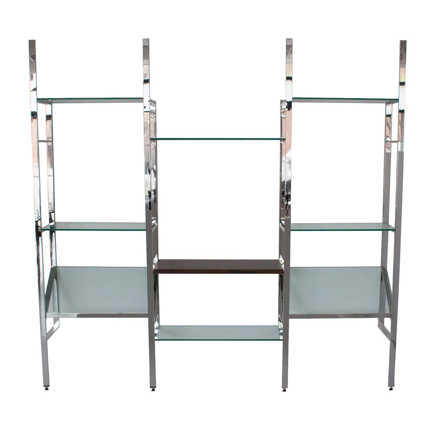 Milo baughman chrome and glass wall mounted shelving Wall mounted bookcase shelves