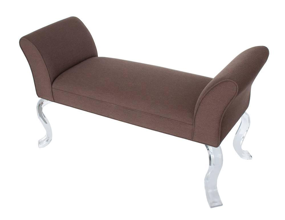 Upholstered bench with lucite legs at 1stdibs Upholstered benches