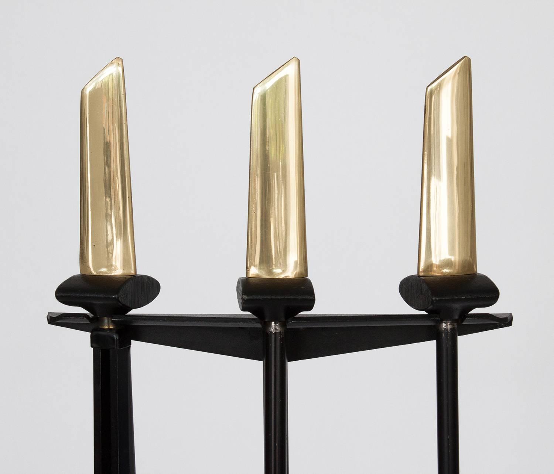 donald deskey brass fireplace fire tools set black iron 4