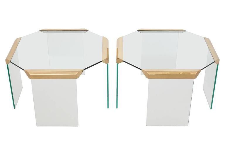 pair of brass glass waterfall octagon side end tables 2