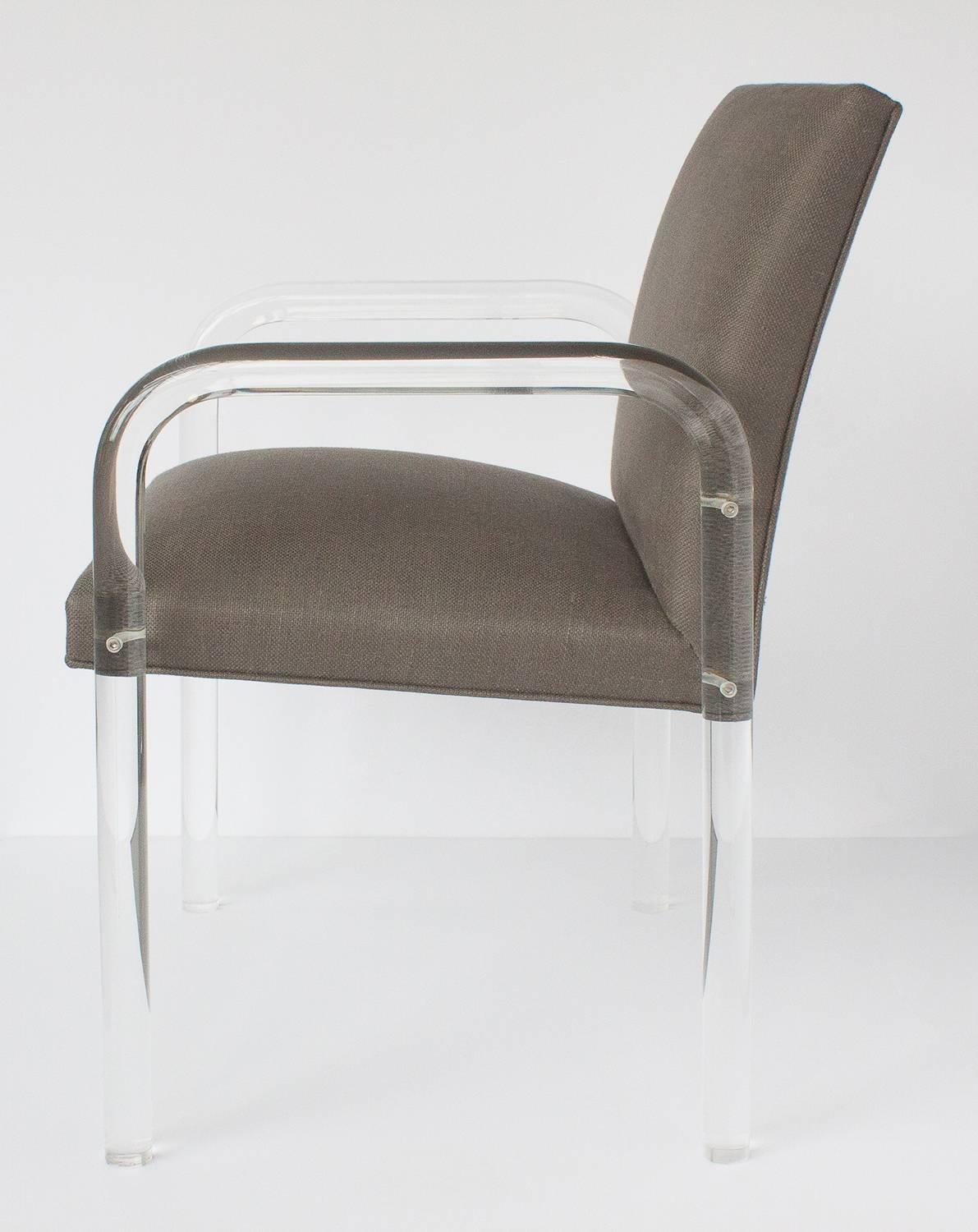 Set Of Eight Lucite Arm Dining Chairs In The Style Of