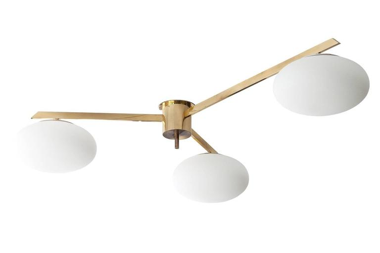 Brass three arm flush mount chandelier by angelo lelli for for Arredo luce