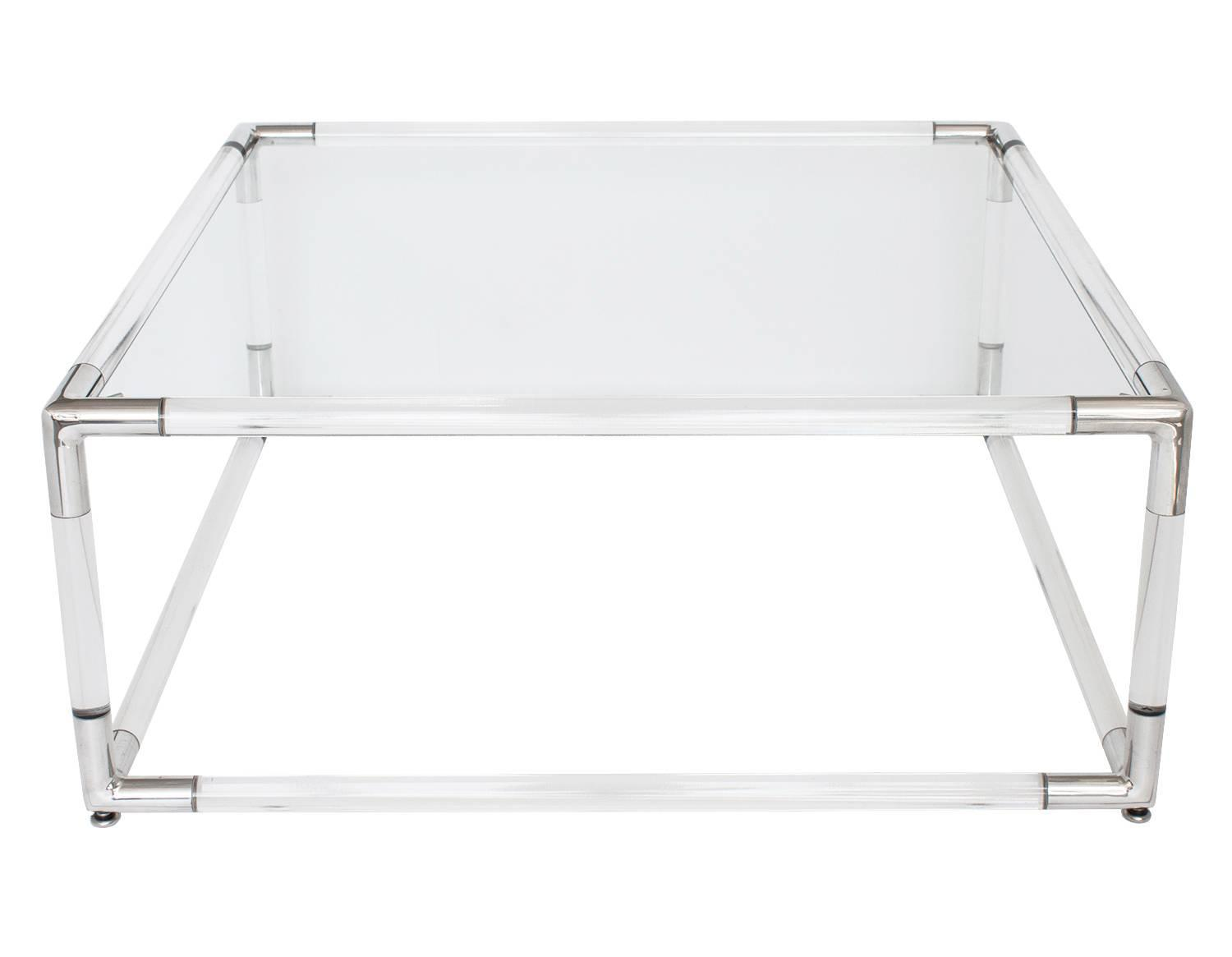 Lucite And Aluminum Square Coffee Table With Glass Top For Sale At 1stdibs