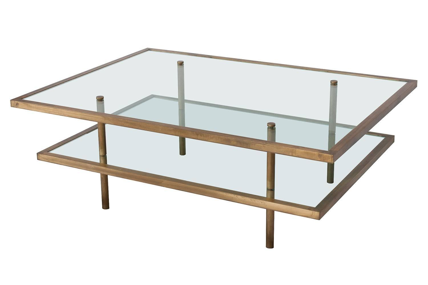 French Bronze and Glass Two-Tier Coffee Table at 1stdibs