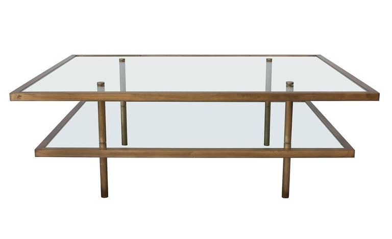 Mid Century Modern French Bronze And Glass Two Tier Coffee Table For Sale