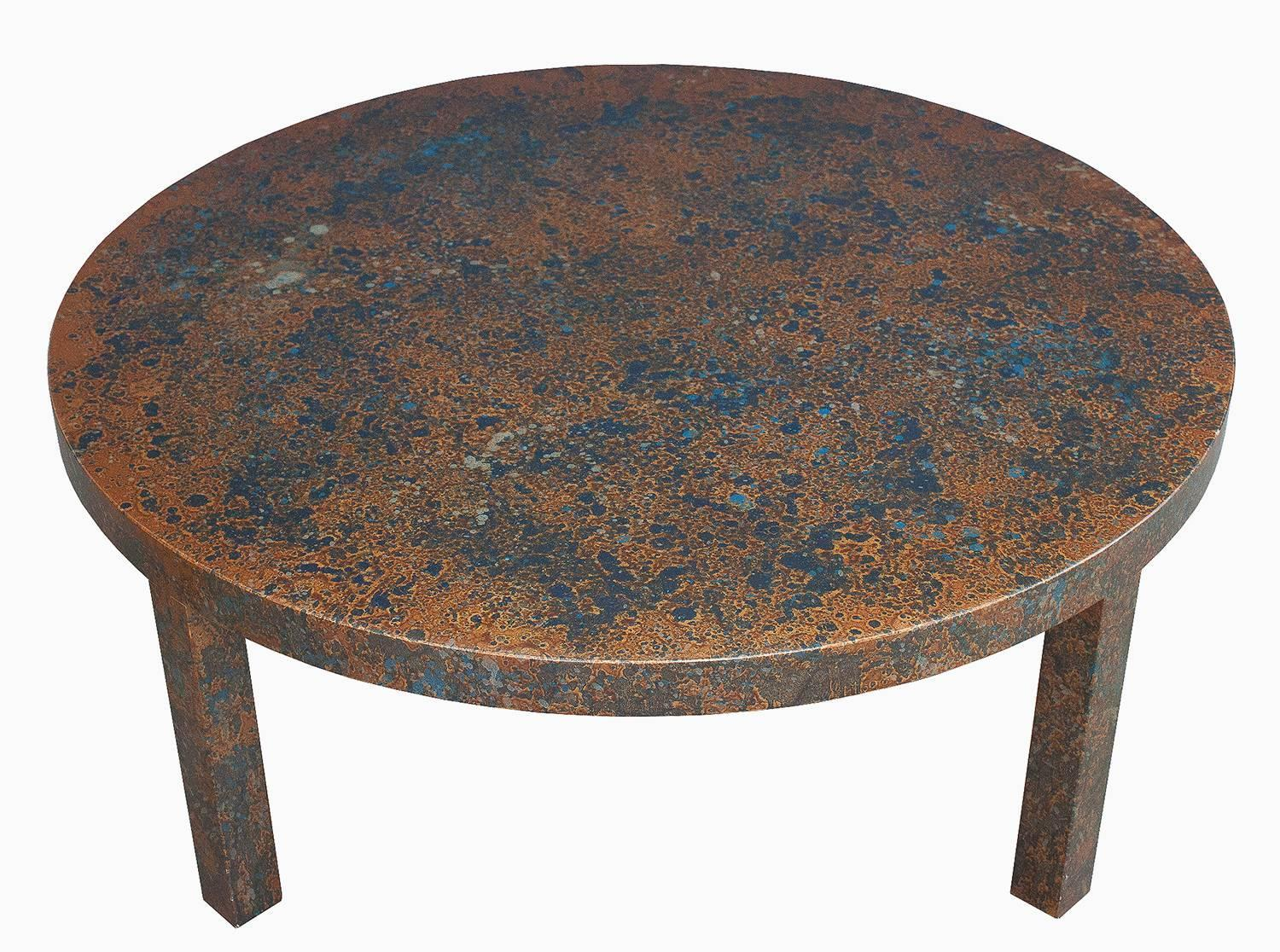 Round Coffee Table In Metallic And Blue Oil Drop Finish At 1stdibs
