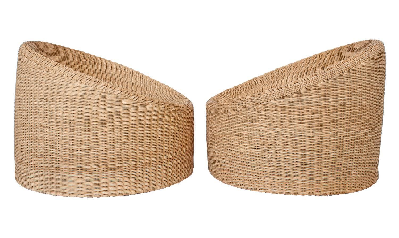 Pair of Eero Aarnio Wicker Lounge Chairs at 1stdibs