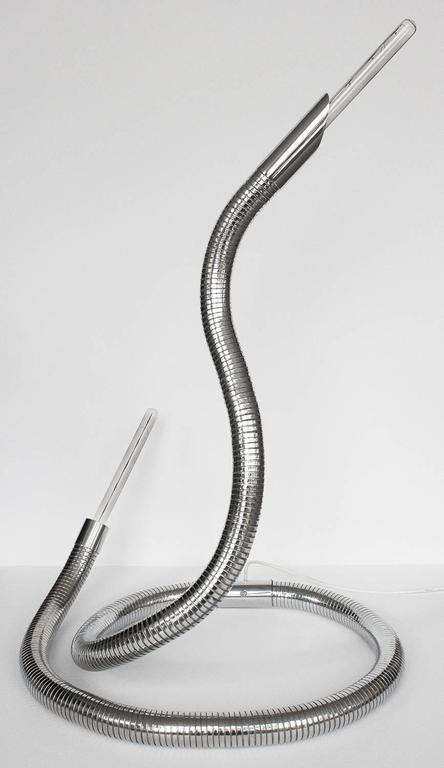 Unique 1960s Italian Chrome Flexible Snake Lamp For Sale