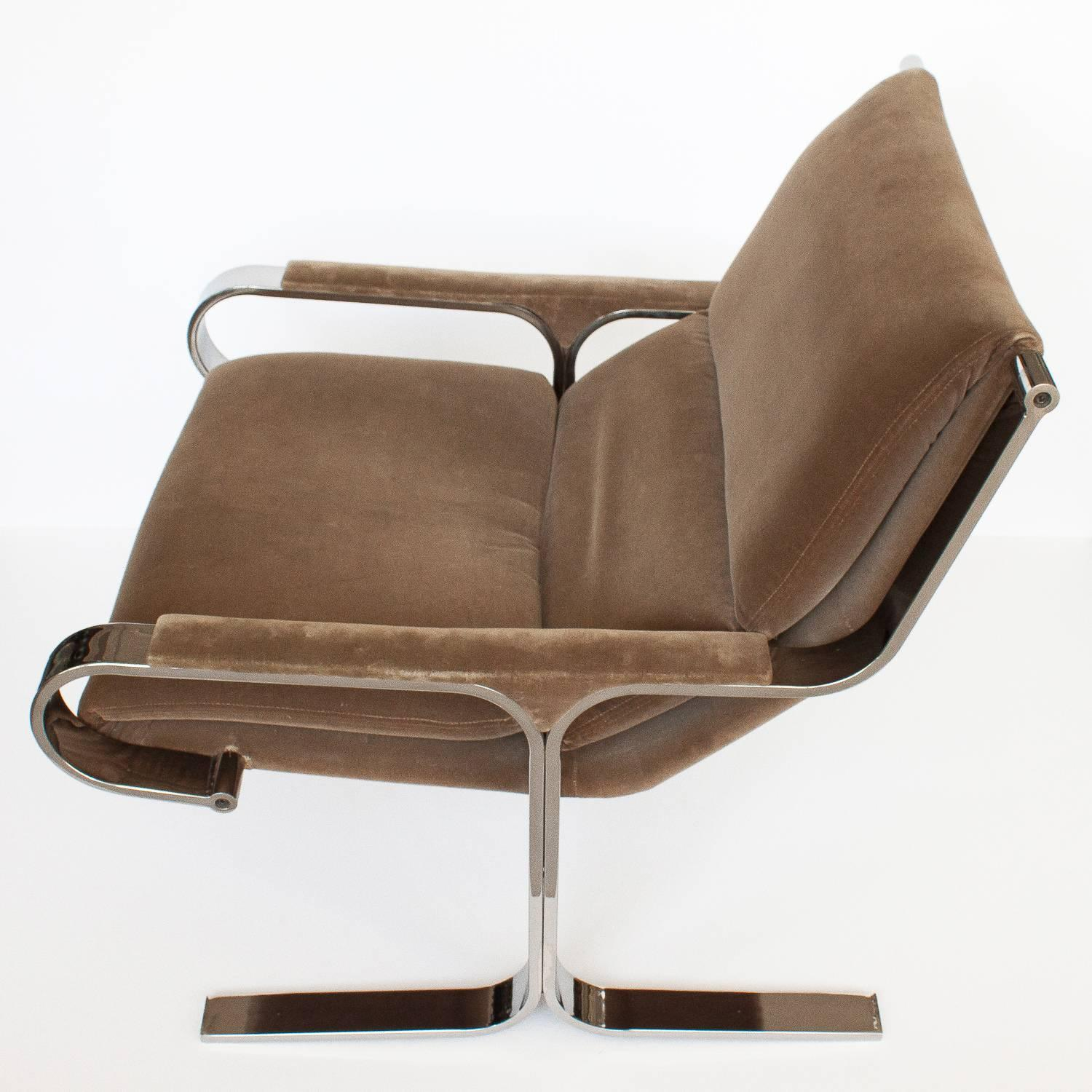 Milo Baughman Style Chrome Lounge Chair For Sale at 1stdibs