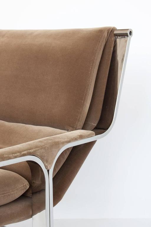 Milo Baughman Style Chrome Lounge Chair At 1stdibs