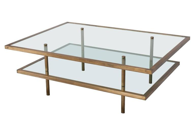 A 1960s French Bronze Framed Gl Two Tier Coffee Table Tiers Are