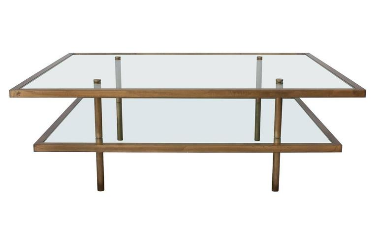 Mid Century Modern French Bronze And Gl Two Tier Coffee Table For