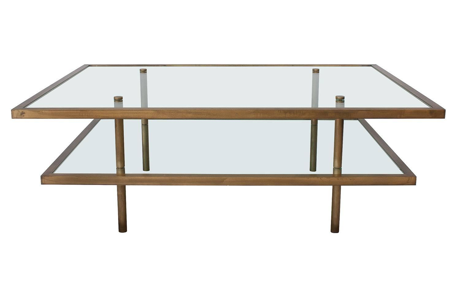 French Bronze And Gl Two Tier Coffee Table At 1stdibs