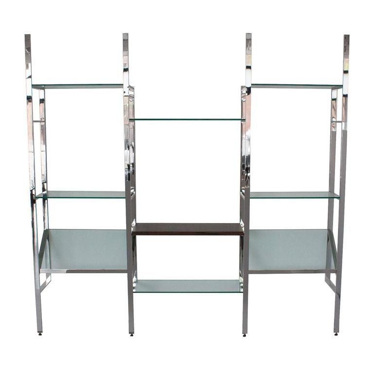 milo baughman chrome and glass wallmounted shelving system 3