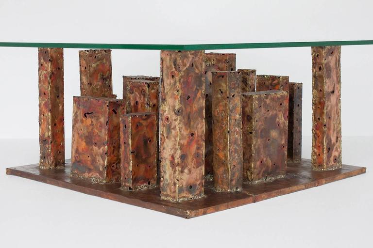Artist Signed Brutalist Copper and Brass Torch Cut Skyscraper