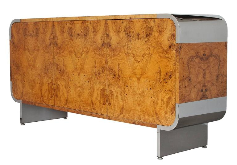 Pace Collection Burl Wood And Chrome Sideboard Cabinet At