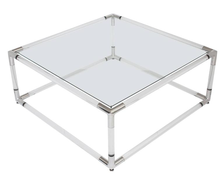 Lucite And Aluminium Square Coffee Table With Glass Top For Sale At 1stdibs