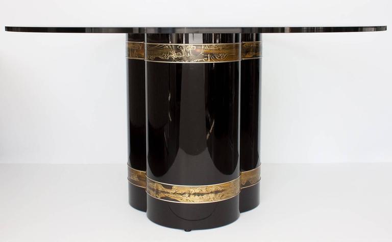 Bernhard Rohne Acid Etched Brass Black Lacquered Pedestal