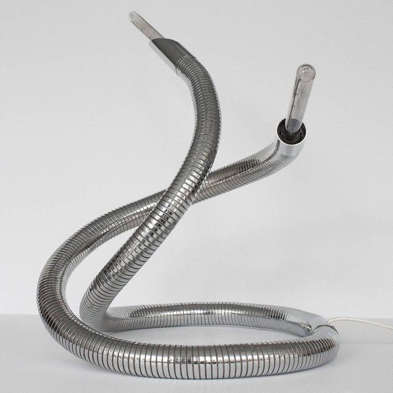 Unique 1960s Italian Chrome Flexible Snake Lamp For Sale