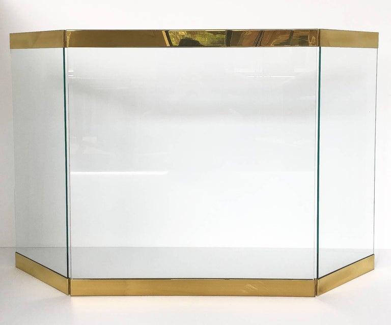 Modernist Brass And Glass Folding Fireplace Screen At 1stdibs