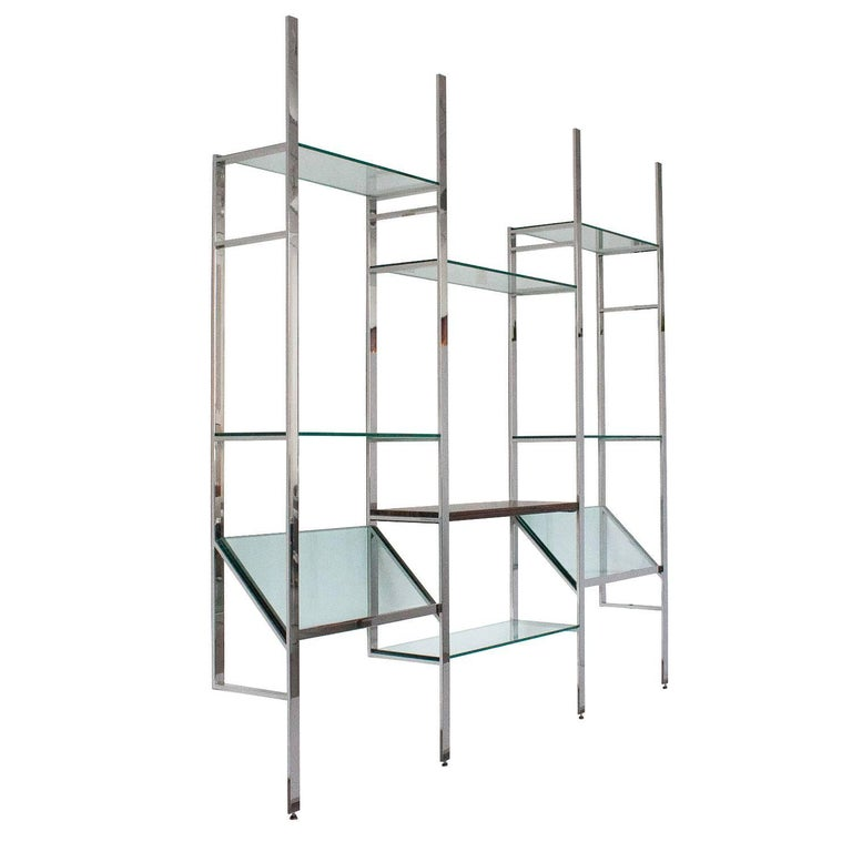 Milo Baughman Chrome and Glass Wall-Mounted Shelving System at 1stdibs