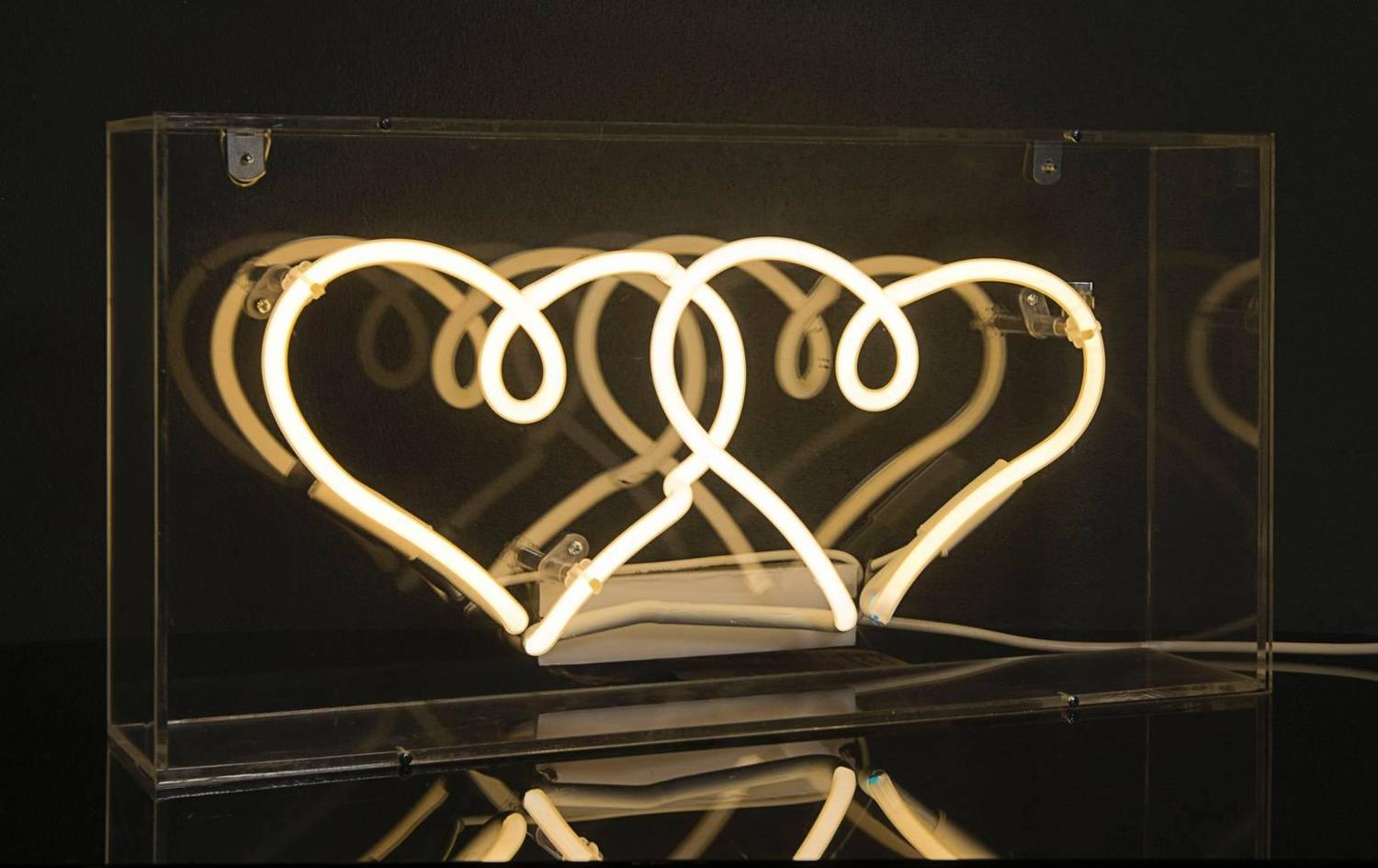 twin neon hearts in clear acrylic box for sale at 1stdibs