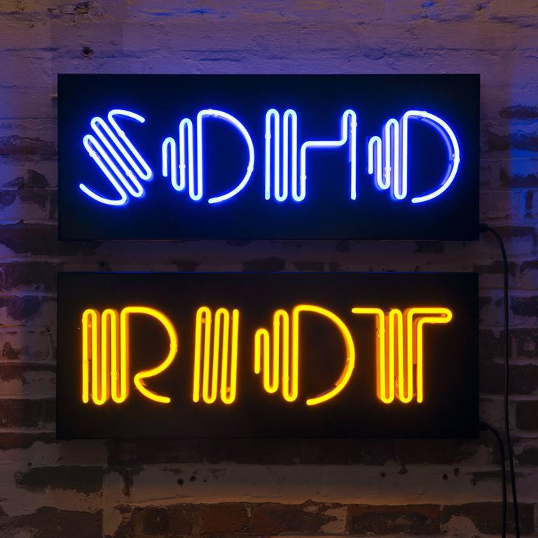 """Ben Eine """"SOHO"""" Neon 'Blue' 3"""