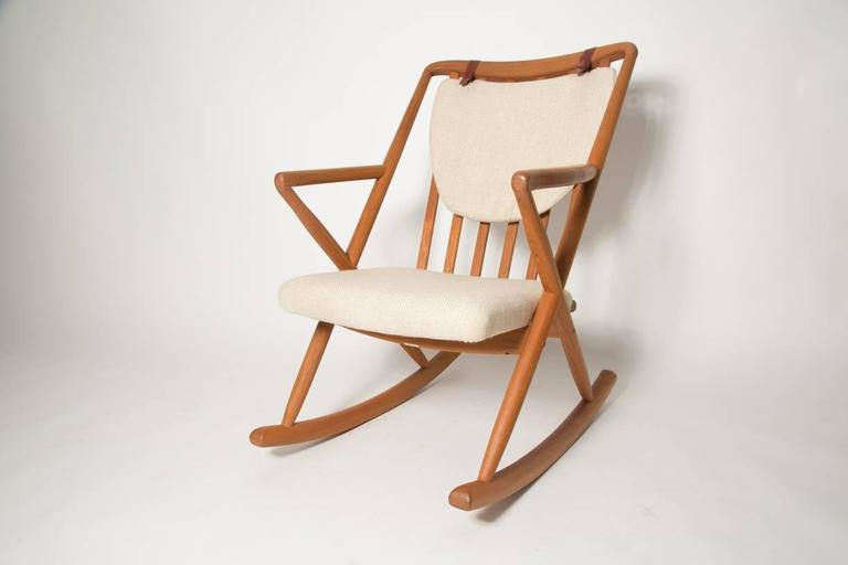 Honey Teak And Cream Rocking Chair By Renowned Danish Designer Benny A  Linden With Removable Back