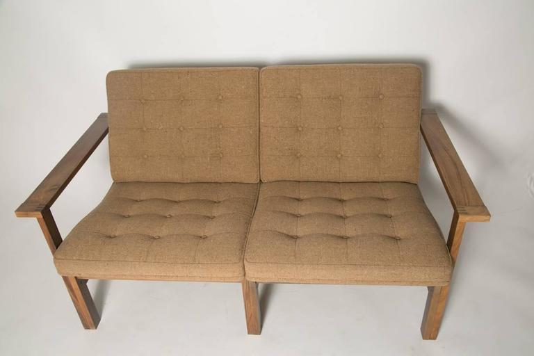 Wool Moduline Rosewood Sofa Love Seat For Sale