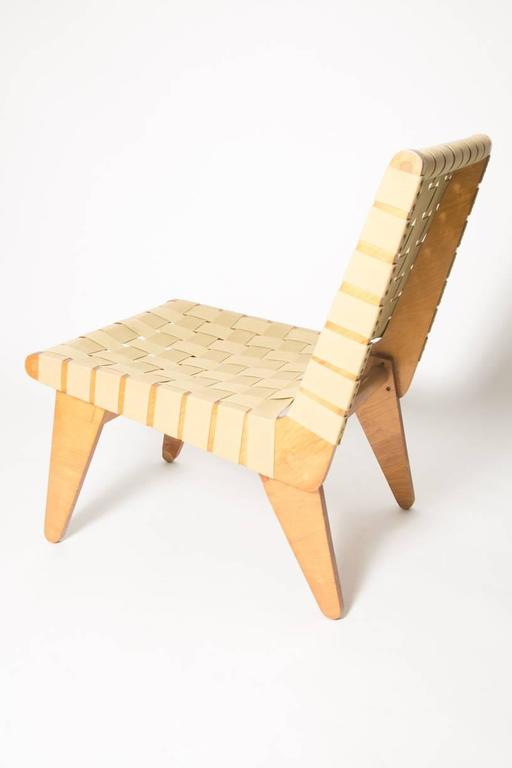 Klause Grabe Architect built strap lounge chair. Hand built lounge chair with strapping and modular wood frame. Klaus Grabe was a German designer and architect who emigrated to the United States with fellow Bauhaus members in 1933. Influenced by