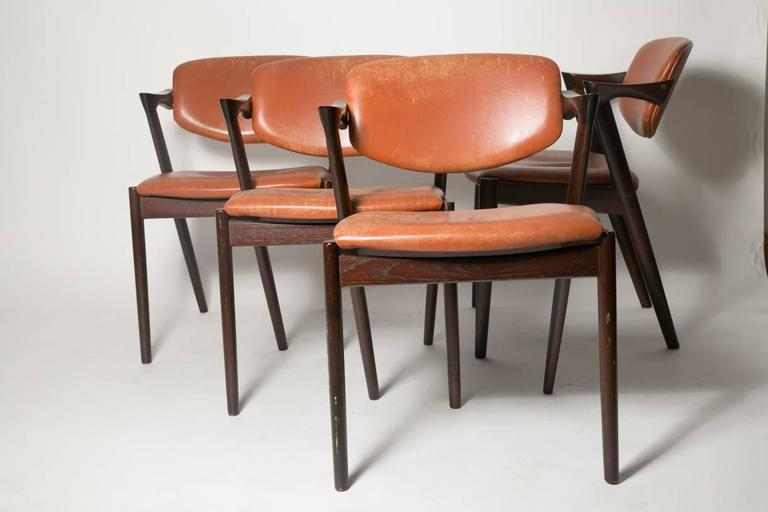 Four Kai Kristiansen Cognac Leather and Mahogany 'Z' Dining Chairs 2