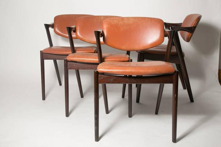 Four Kai Kristiansen Cognac Leather and Mahogany 'Z' Dining Chairs 3