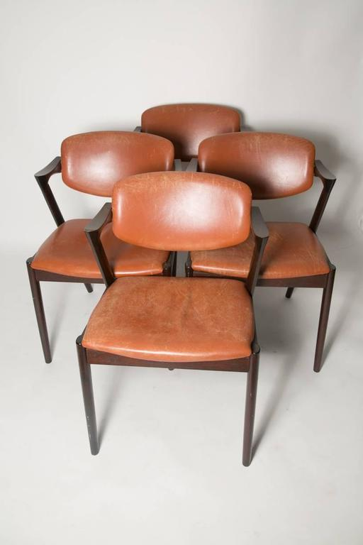 Four Kai Kristiansen Cognac Leather and Mahogany 'Z' Dining Chairs 4